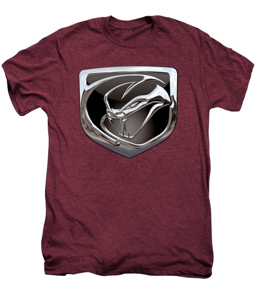 Dodge Viper - 3d Badge On Red Men's Premium T-Shirt by Serge Averbukh