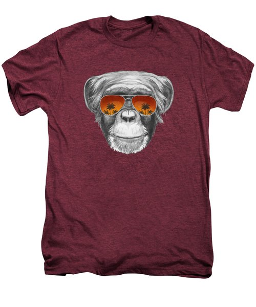 Monkey With Mirror Sunglasses Men's Premium T-Shirt by Marco Sousa