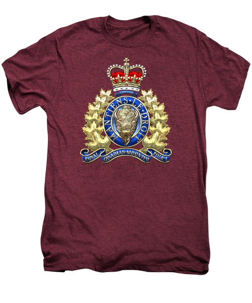 Royal Canadian Mounted Police - Rcmp Badge On Red Leather Men's Premium T-Shirt by Serge Averbukh