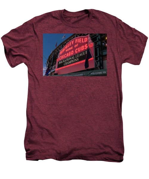 Wrigley Field Marquee Cubs National League Champs 2016 Men's Premium T-Shirt by Steve Gadomski