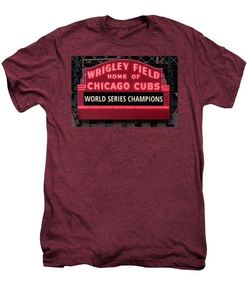 Wrigley Field Marquee Cubs World Series Champs 2016 Front Men's Premium T-Shirt by Steve Gadomski