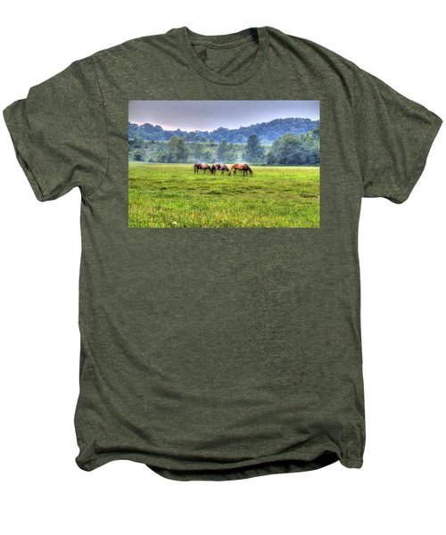 Horses In A Field Men's Premium T-Shirt