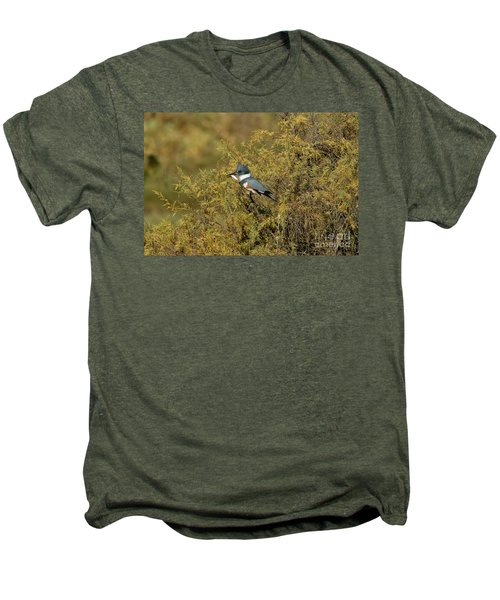 Belted Kingfisher With Fish Men's Premium T-Shirt by Anthony Mercieca