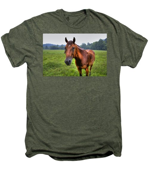Men's Premium T-Shirt featuring the photograph Horse In A Field by Jonny D