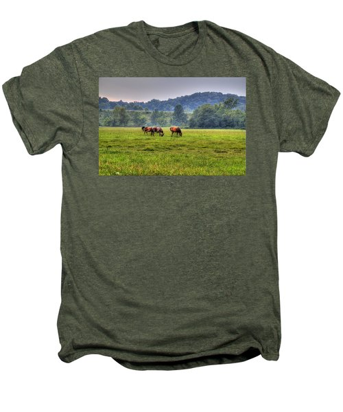 Men's Premium T-Shirt featuring the photograph Horses In A Field 2 by Jonny D