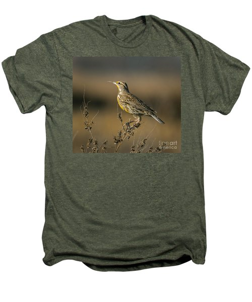 Meadowlark On Weed Men's Premium T-Shirt by Robert Frederick
