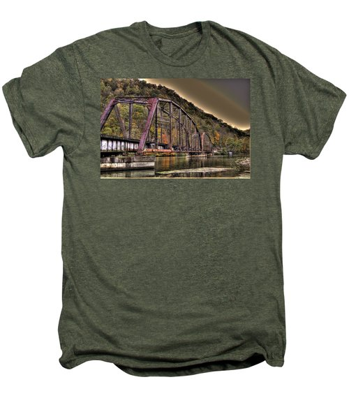 Men's Premium T-Shirt featuring the photograph Old Bridge Over Lake by Jonny D