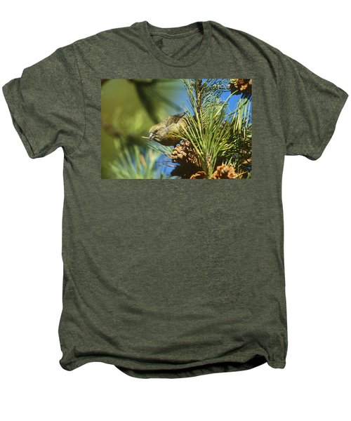 Red Crossbill Eating Cone Seeds Men's Premium T-Shirt