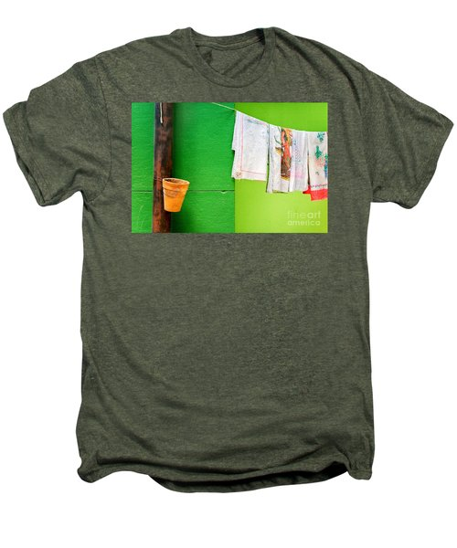 Men's Premium T-Shirt featuring the photograph Vase Towels And Green Wall by Silvia Ganora