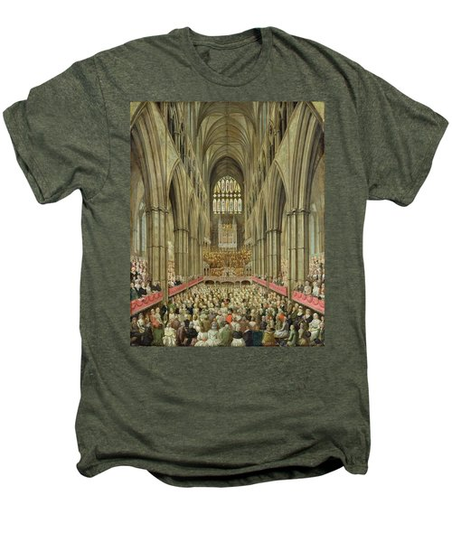 An Interior View Of Westminster Abbey On The Commemoration Of Handel's Centenary Men's Premium T-Shirt by Edward Edwards