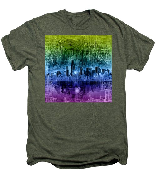 Chicago Skyline Abstract Men's Premium T-Shirt