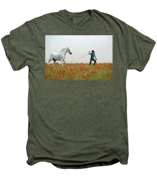Men's Premium T-Shirt featuring the photograph At The Poppies' Field... 2 by Dubi Roman