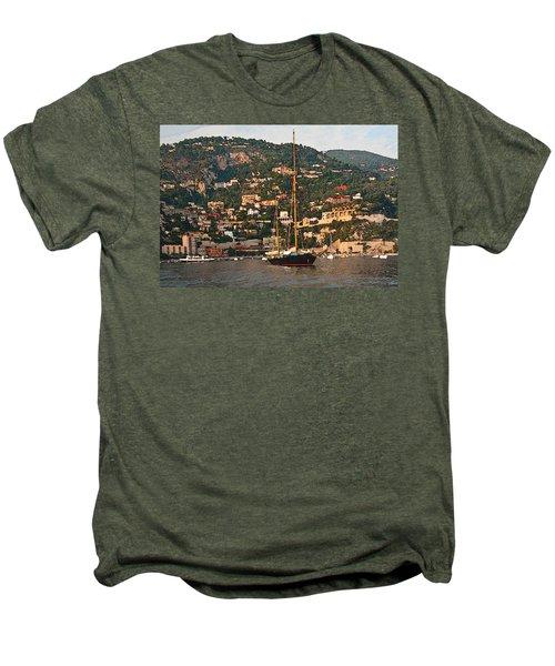 Black Sailboat At Villefranche II Men's Premium T-Shirt