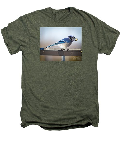 Men's Premium T-Shirt featuring the photograph Blue Jay With A Mouth Full by Ricky L Jones