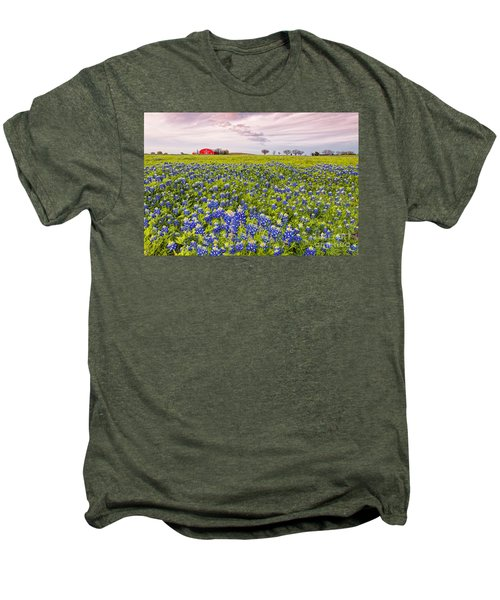 Bluebonnets And Red Barn In Washington County - Chappell Hill - Brenham - Texas Men's Premium T-Shirt