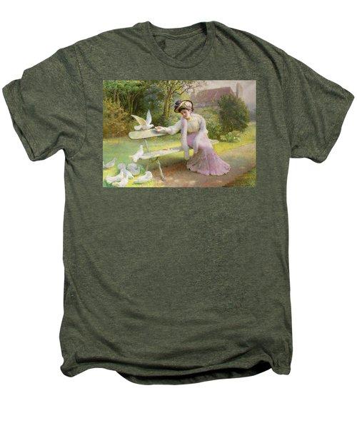 Feeding The Doves  Men's Premium T-Shirt by Edmond Alphonse Defonte