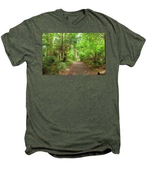 Hiking Trail Through Forest Along Lewis And Clark River Men's Premium T-Shirt