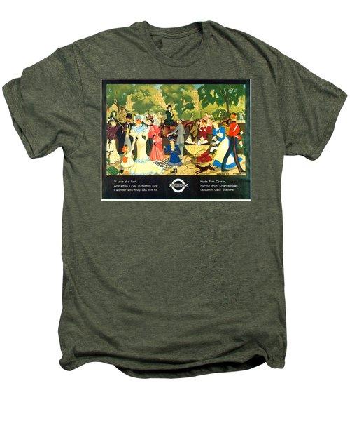 I Love The Park - London Underground, London Metro, Suburban - Retro Travel Poster Men's Premium T-Shirt