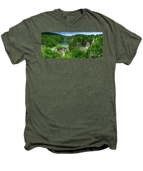 Panorama Of Turquoise Lakes And Waterfalls - A Dramatic View, Plitivice Lakes National Park Croatia Men's Premium T-Shirt