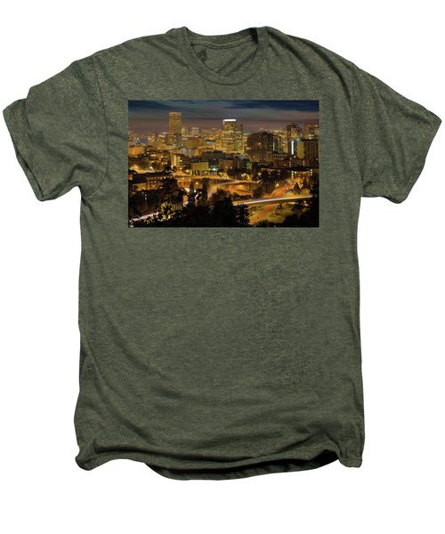 Portland Downtown Cityscape And Freeway At Night Men's Premium T-Shirt
