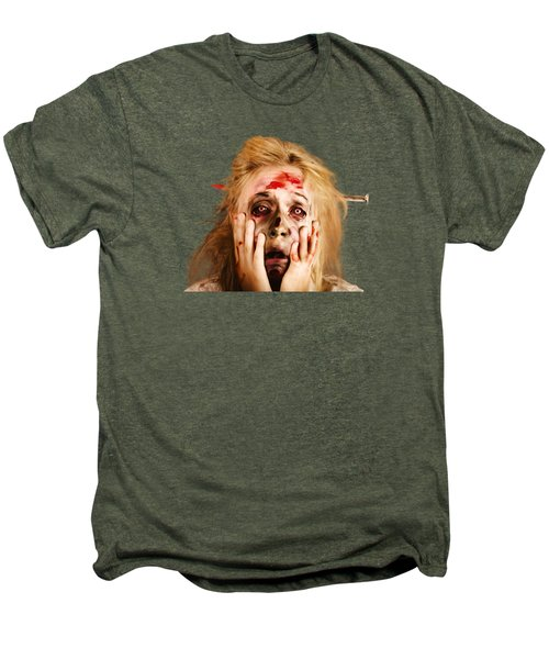 Scared Halloween Monster With Nail Through Head Men's Premium T-Shirt