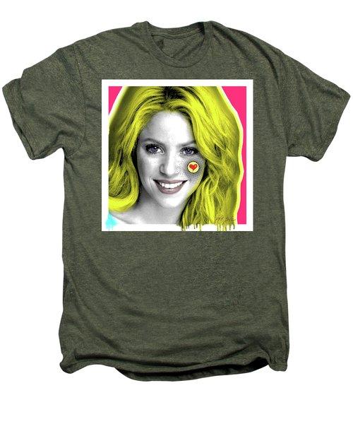 Shakira, Pop Art, Pop Art, Portrait, Contemporary Art On Canvas, Famous Celebrities Men's Premium T-Shirt by Dr Eight Love