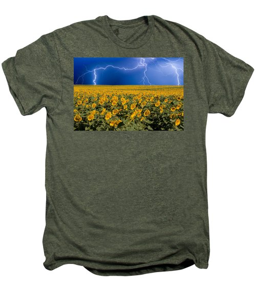 Sunflower Lightning Field  Men's Premium T-Shirt by James BO  Insogna