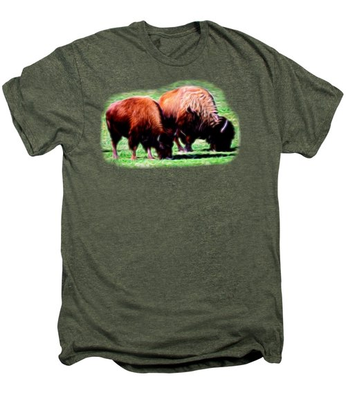 Texas Bison Men's Premium T-Shirt by Linda Phelps