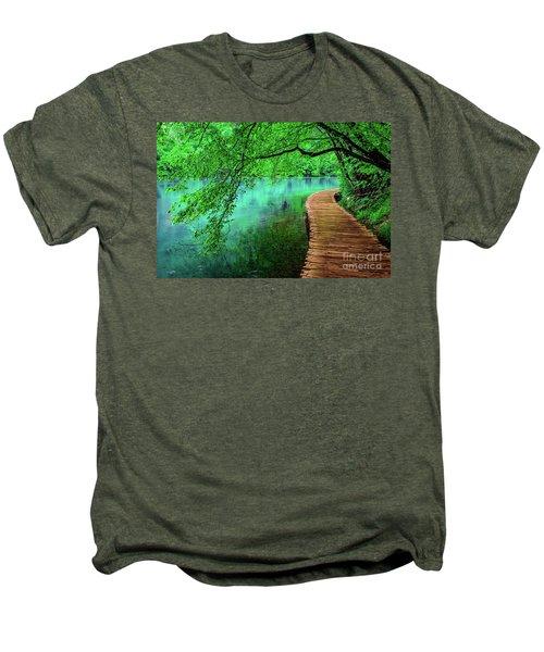 Tree Hanging Over Turquoise Lakes, Plitvice Lakes National Park, Croatia Men's Premium T-Shirt
