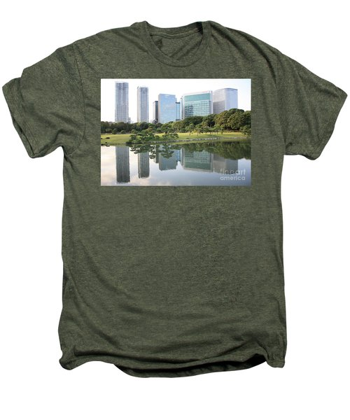 Tokyo Skyline Reflection Men's Premium T-Shirt by Carol Groenen