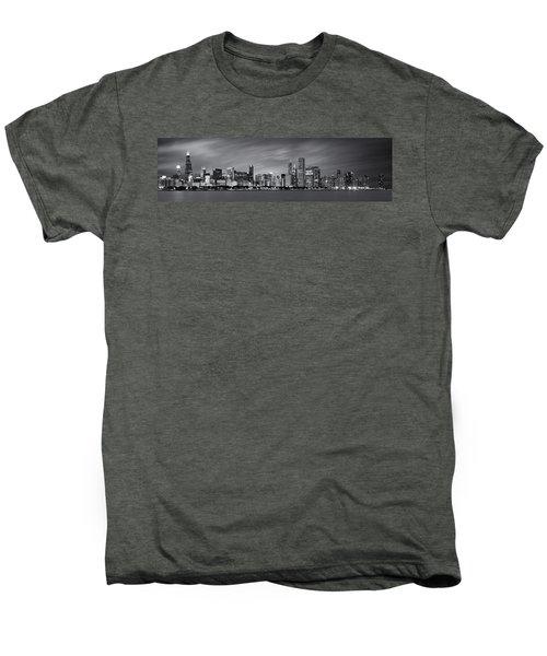 Chicago Skyline At Night Black And White Panoramic Men's Premium T-Shirt