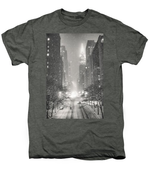 New York City - Winter Night Overlooking The Chrysler Building Men's Premium T-Shirt by Vivienne Gucwa