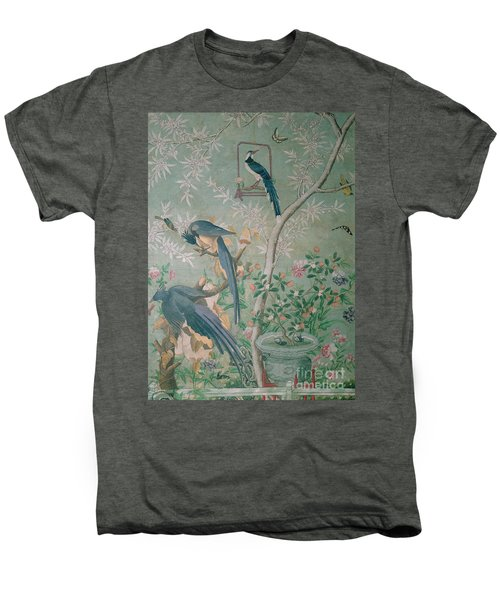 A Pair Of Magpie Jays  Vintage Wallpaper Men's Premium T-Shirt