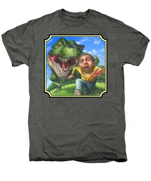 Tyrannosaurus Rex Jurassic Park Dinosaur - T Rex - T Rex - Extinct Predator - Square Format Men's Premium T-Shirt