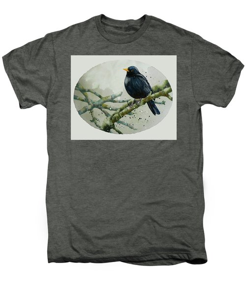 Blackbird Painting Men's Premium T-Shirt by Alison Fennell