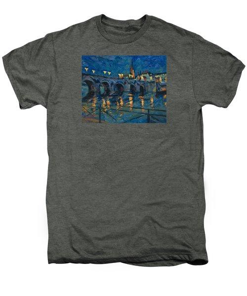 December Lights Old Bridge Maastricht Men's Premium T-Shirt by Nop Briex