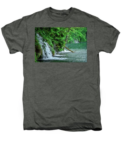Plitvice Lakes National Park, Croatia - The Intersection Of Upper And Lower Lakes Men's Premium T-Shirt
