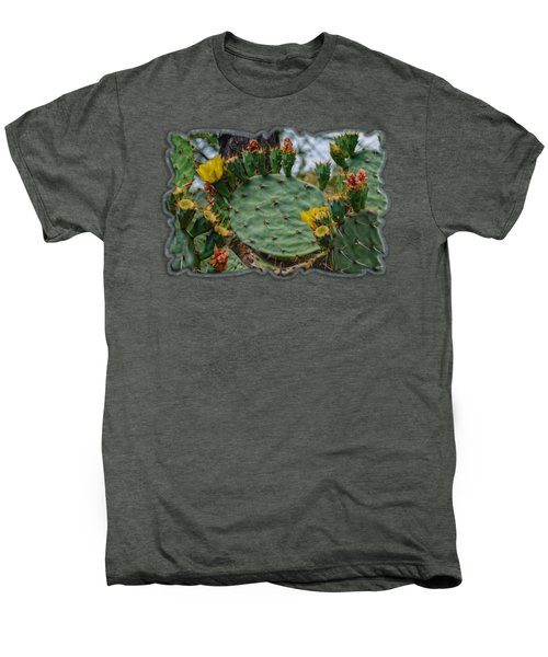 Prickly Pear Flowers H35 Men's Premium T-Shirt by Mark Myhaver