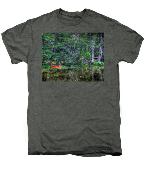 Men's Premium T-Shirt featuring the photograph Red Canoe Among The Reeds by David Patterson