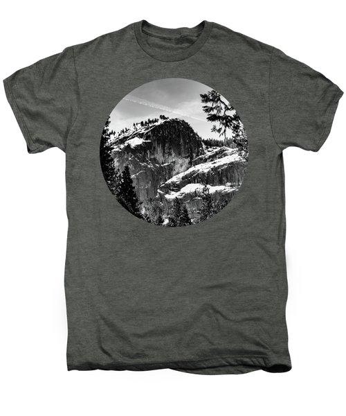 Snowy Sentinel, Black And White Men's Premium T-Shirt