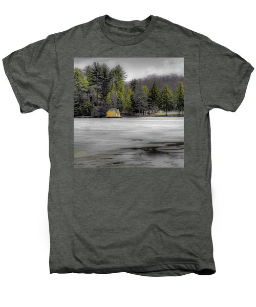 Men's Premium T-Shirt featuring the photograph The Lighthouse On Frozen Pond by David Patterson