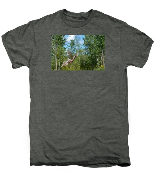 The Ring-necked Pheasant In Take-off Flight Men's Premium T-Shirt by Asbed Iskedjian