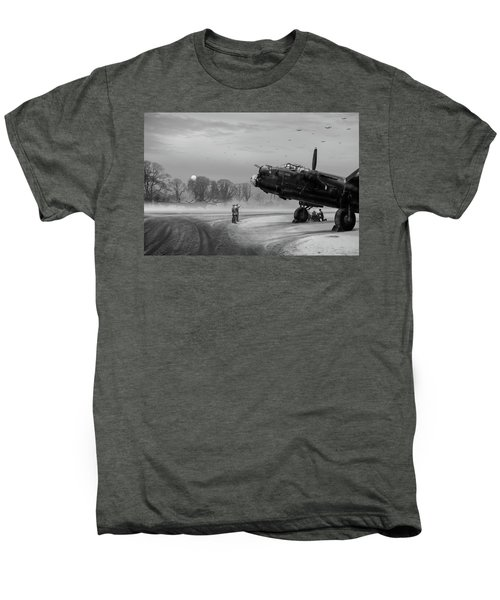 Men's Premium T-Shirt featuring the photograph Time To Go - Lancasters On Dispersal Bw Version by Gary Eason