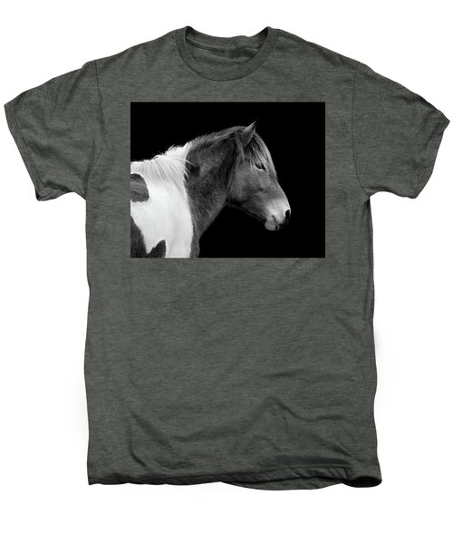Men's Premium T-Shirt featuring the photograph Assateague Pony Susi Sole Black And White Portrait by Bill Swartwout Fine Art Photography