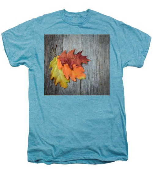 Autumn Leaves On Rustic Wooden Background Men's Premium T-Shirt
