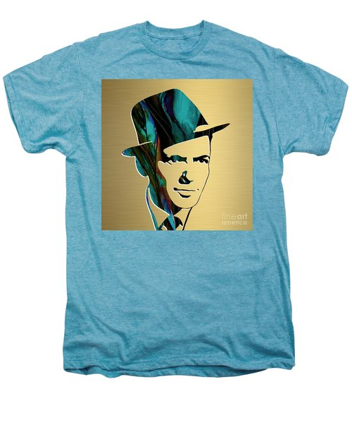 Men's Premium T-Shirt featuring the mixed media Frank Sinatra Gold Series by Marvin Blaine
