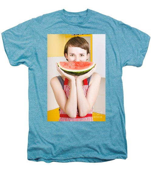 Funny Woman With Juicy Fruit Smile Men's Premium T-Shirt by Jorgo Photography - Wall Art Gallery