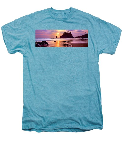 Silhouette Of Sea Stacks At Sunset Men's Premium T-Shirt