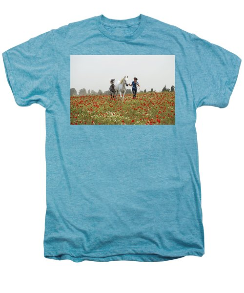 Men's Premium T-Shirt featuring the photograph Three At The Poppies' Field... 3 by Dubi Roman