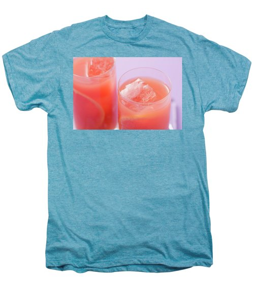 Two Glasses Of Pink Grapefruit Juice With Ice Cubes Men's Premium T-Shirt